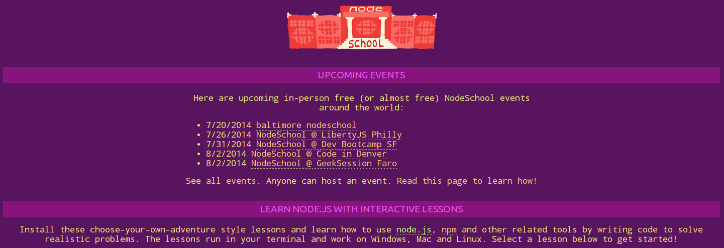 Nodeschool Main Page